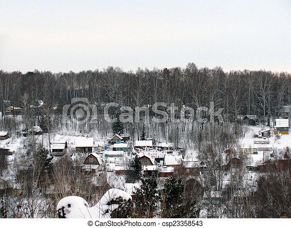 A small Russian Village in winter - csp23358543