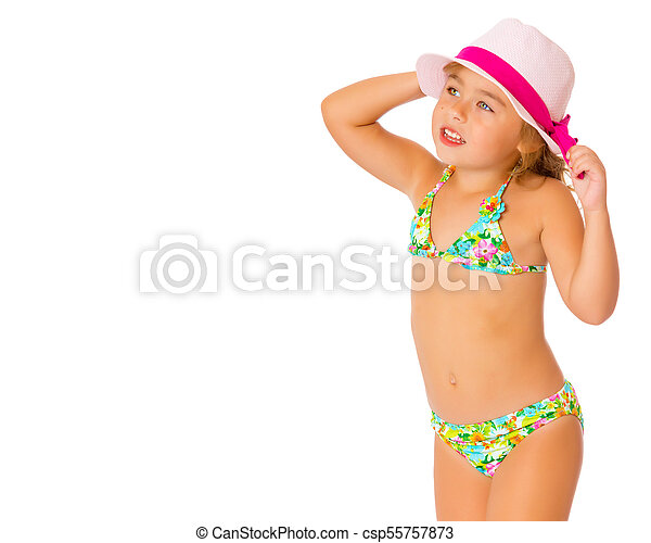 2f458297ee4b A small tanned girl in a swimsuit and a hat. Beautiful little tanned ...
