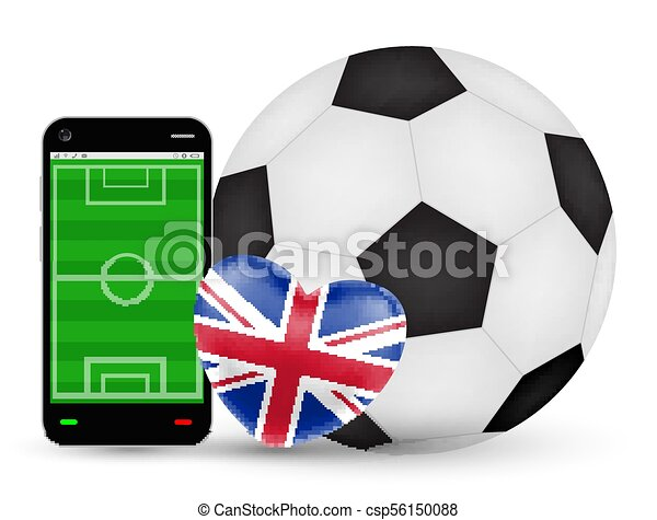 A smartphone with love England football soccer vector - csp56150088