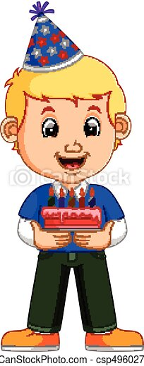 a smiling boy with cake - csp49602700