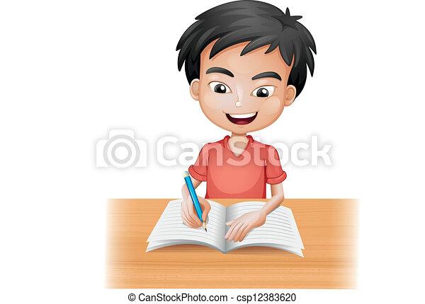 A smiling boy writing - csp12383620