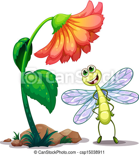 illustration of a smiling dragonfly below the giant flower vector rh canstockphoto com Whimsical Dragonfly Clip Art Cartoon Dragonfly