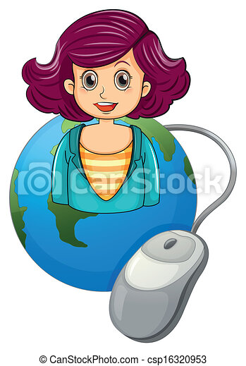 A smiling woman above the earth with a computer mouse - csp16320953