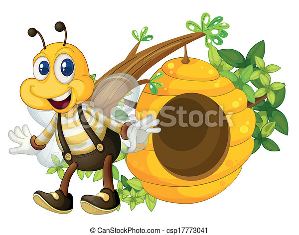 A smiling yellow bee near the beehive - csp17773041