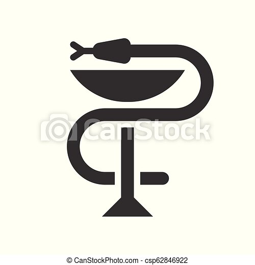 A snake twined around a chalice, Bowl of Hygieia one of the symbols of pharmacy - csp62846922