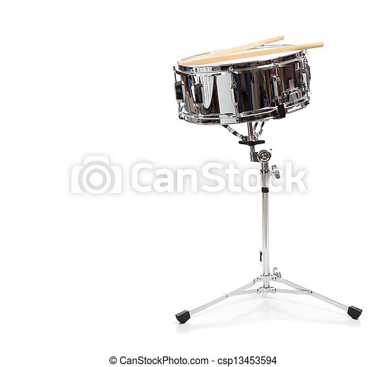 A snare drum on a white background - csp13453594