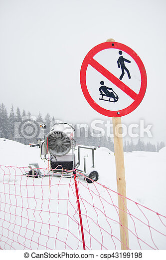 A snow cannon being used to cover a mountain - Snowmaking - csp43199198