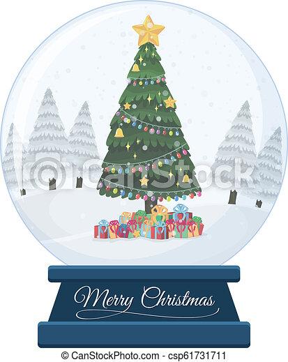 A snow globe on white background - csp61731711