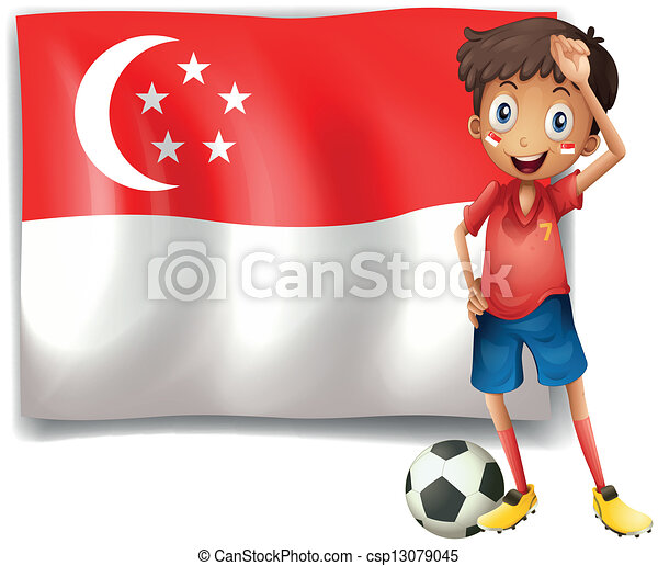 A soccer player beside the flag of Singapore - csp13079045