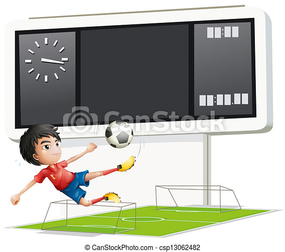 A soccer player inside the gym with a scoreboard - csp13062482