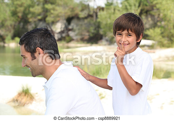 a son playing with his father - csp8889921