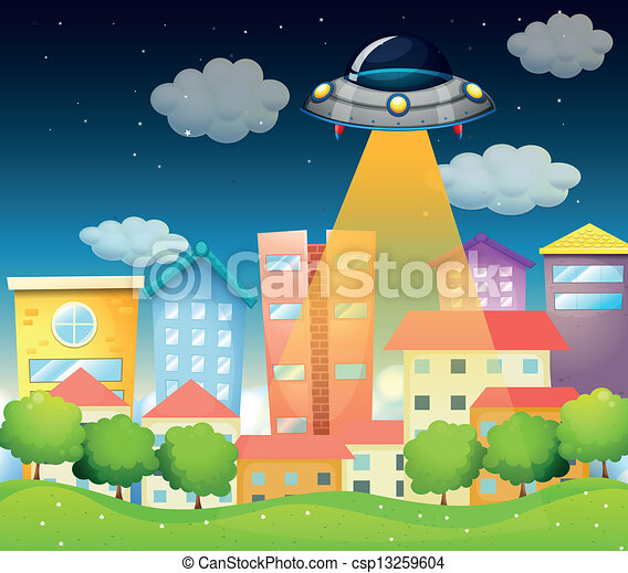 A spaceship above the buildings - csp13259604