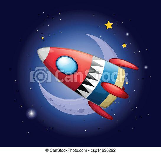 A spaceship near the moon - csp14636292
