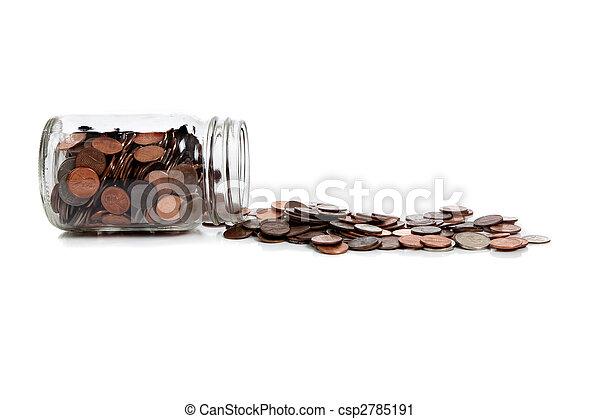 a Spilt jar of change on white - csp2785191
