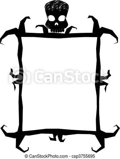 A spooky frame with a skull.