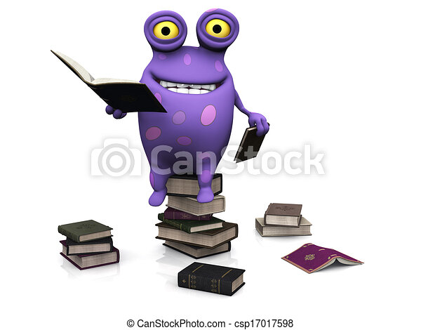 A spotted monster sitting on a pile of books. - csp17017598