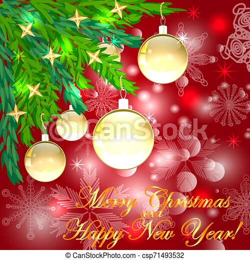 A square red christmas background with snowflakes, coniferous branches decorated with golden balls, stars. The inscription of Merry Christmas and a Happy New Year - csp71493532
