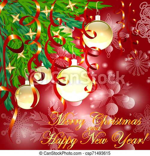 A square red christmas background with snowflakes, coniferous branches decorated with golden balls, stars, ribbons. The inscription of Merry Christmas and a Happy New Year - csp71493615
