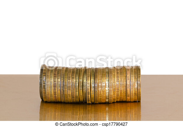A stack of coins, placed horizontally on a white background - csp17790427