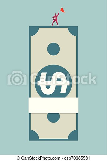 A stack of. Isolated on blue background. - csp70385581