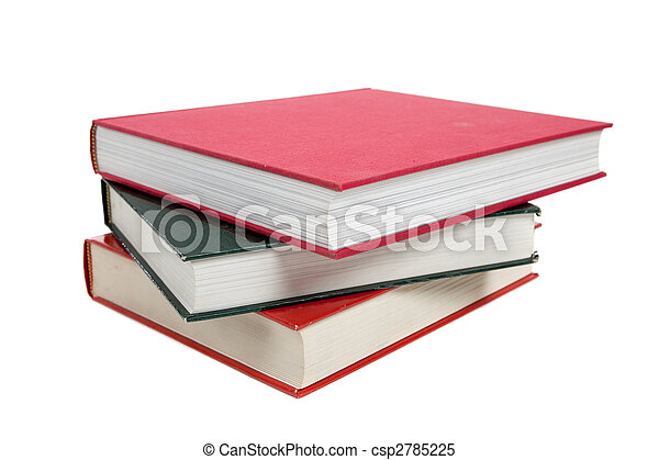 a stack of textbooks on white - csp2785225