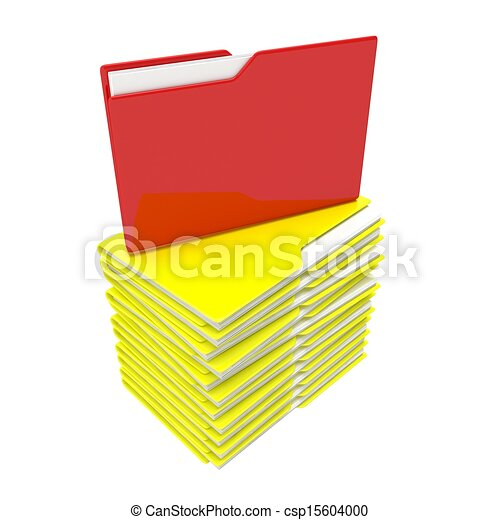A stack of yellow folder with a red core - csp15604000