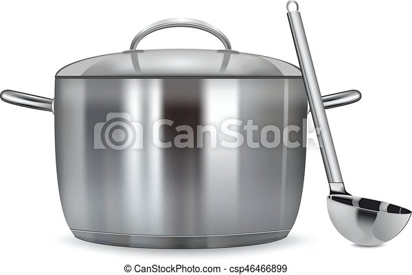 A stainless pan isolated on a white background Vector illustration - csp46466899
