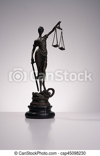 A statue of Themis on white background - csp45098230