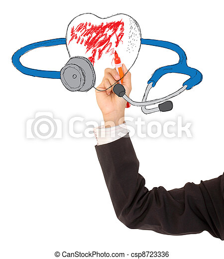 a stethoscope and a heart on a white background - csp8723336