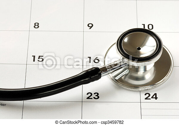 A stethoscope on the calendar concepts of medical appointment - csp3459782