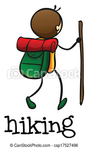illustration of a stickman hiking on a white background eps vectors rh canstockphoto com hiking boot print clipart free