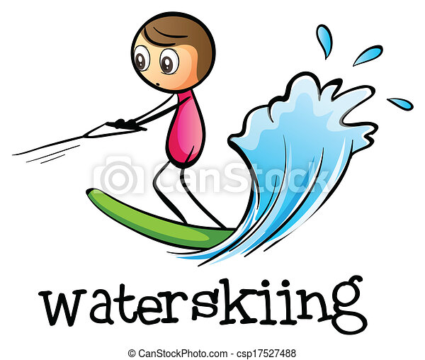 a stickman waterskiing illustration of a stickman waterskiing on a rh canstockphoto com slalom water skiing clipart