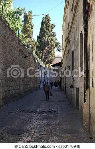 A street in the old city jerusalem - csp8176948