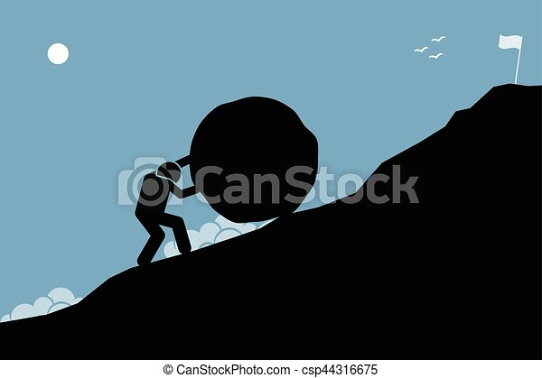A strong man pushing a big rock up the hill to reach the goal on top. - csp44316675