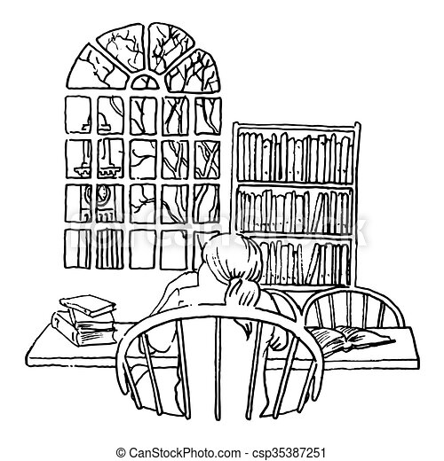 A Student Studying In A Library Line Illustration