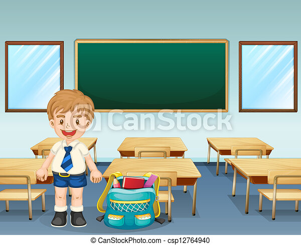 A student wearing a complete uniform - csp12764940