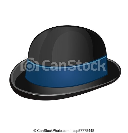 6393488586f A stylish black bowler hat with blue ribbon isolated on a white background.  Vector illustration
