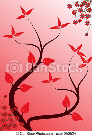 A stylized red floral vector background design - csp4950524