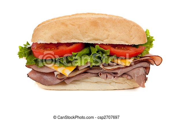 A submarine sandwich on white - csp2707697