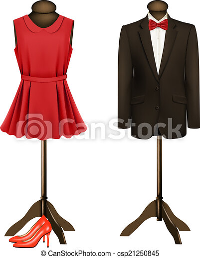 A suit and a formal dress on mannequins with red high heels. vector. .
