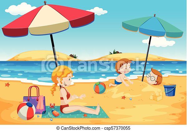 A Summer Family Trip At The Beach Illustration