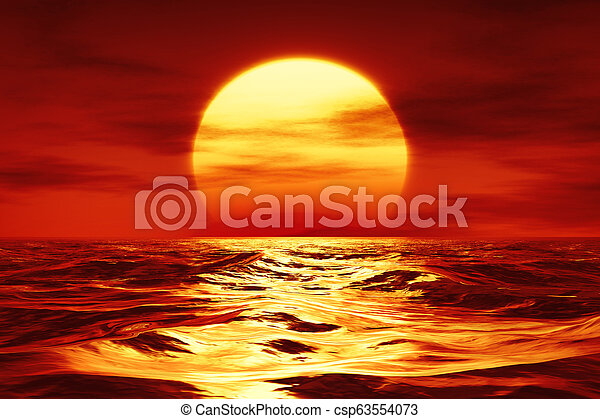 a sunset over the wild sea - csp63554073
