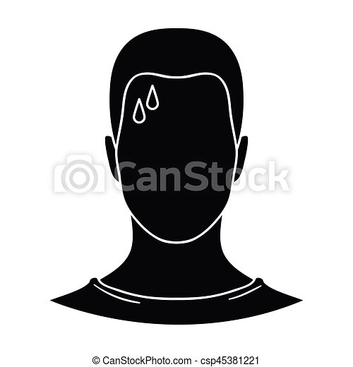 A sweaty man. The man is sweating from diabetes. Diabetes single icon in black style vector symbol stock illustration. - csp45381221