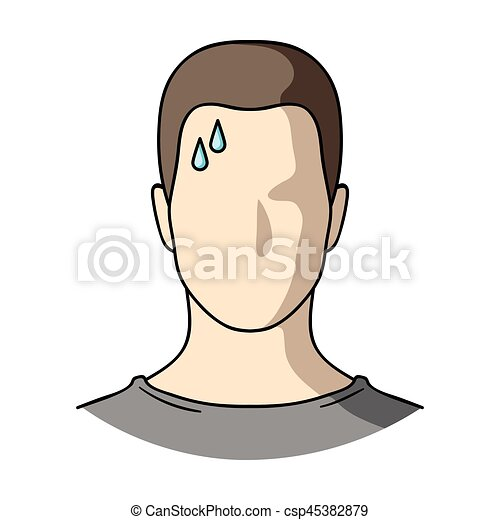 A sweaty man. The man is sweating from diabetes. Diabetes single icon in cartoon style vector symbol stock illustration. - csp45382879