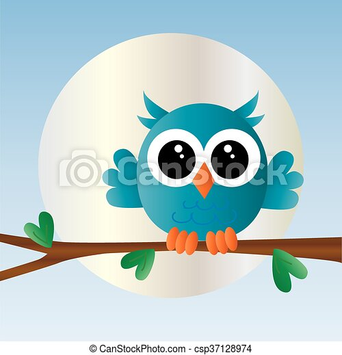 a sweet little blue owl vectors illustration search clipart rh canstockphoto com Baby Blue Owl Clip Art Blue Owl Clip Art Girl