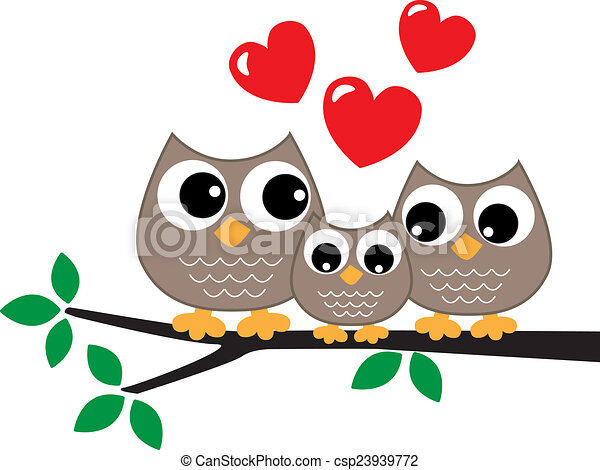 a sweet little owl family love stock illustrations search eps rh canstockphoto com Owl Family Silhouette owl family tree clipart