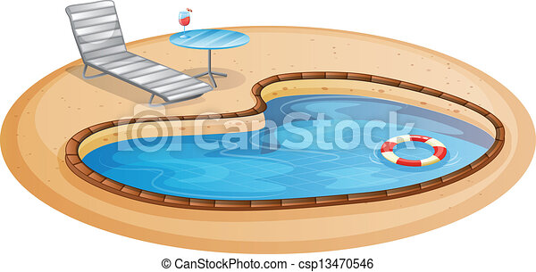 A swimming pool illustration of a swimming pool on a for Swimming pool drawing