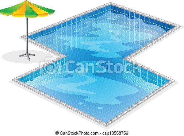 A swimming pool with a beach umbrella - csp13568759