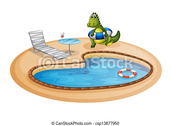 A swimming pool with a crocodile inside a buoy for Swimming pool drawing