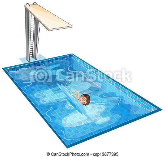 A swimming pool with a young boy - csp13877395